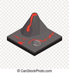Volcano landscape isometric icon