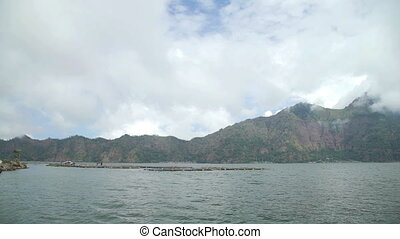 Volcano mount and lake Batur located in Kintamani area in Bali, Indonesia