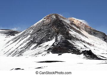 volcano mount Etna crater in Sicily, Italy
