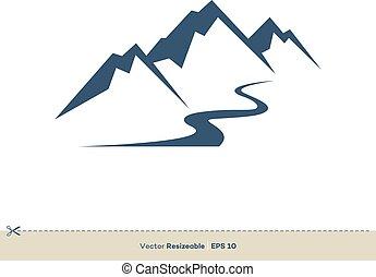 Volcano Mountain and Creek Line Vector Logo Template Illustration Design