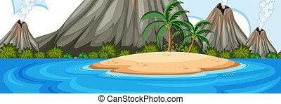 Volcano on the island landscape