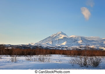 Volcano on the Kamchatka Peninsula - Winter volcano on the ...