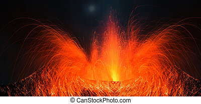 Volcano Pacaya with big eruption in a full moon night