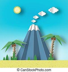 volcano., paysage, ciel, soleil, paume