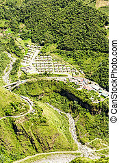Aerial Shot Of A Small Village Built By The Government For The People Affected By The Tungurahua Volcano Eruption In Ecuador