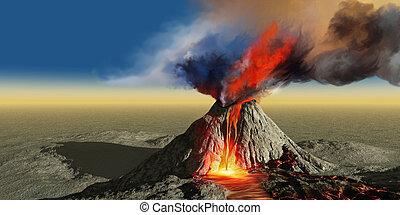 Volcano Smoke - An active volcano belches smoke and molten...