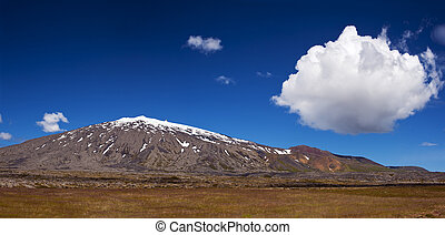Volcano Snaefell on the western end of Icelandic peninsula Snaefellsnes is covered by a glacier Snaefellsjokull, panoramic photo