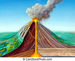 Volcano structure. Original hand painted illustration, ...
