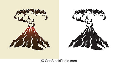 volcano - stylized illustration of a volcanic eruption with ...