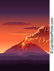 Volcano - Vector illustration of a volcano erupting