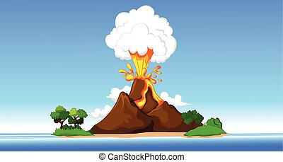 volcano with beach background