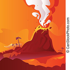 Volcano with burning lava - Vector Illustration of volcano...