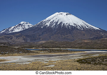 Volcanoes on the Altiplano - Volcanoes Parinacota and...