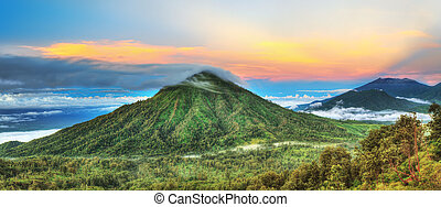 Volcanoes - Volcano Ranti. View from the volcano Ijen. Java...