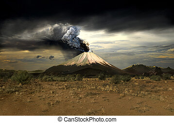Volcanos and all things related - Erupting volcano -...