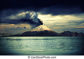 Volcanos and all things related - Erupting volcano near...