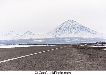 Volcanos at the Kamchatka Peninsula - Road to volcanos at ...
