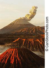 Volcanos Mount Semeru and Mount Bromo in East Java Indonesia...