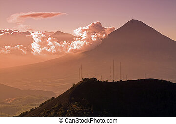 Volcanos seen from Volcano - Silhouettes of distant volcanos...