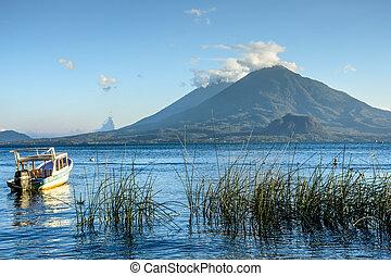 volcans, &, lac, guatemala, atitlan, atitlan, toliman