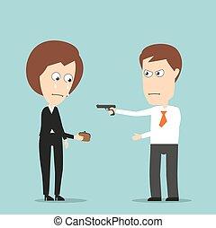 vole, femme, pistolet, business, homme affaires