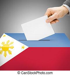 volební urna, namalovaný, do, celostátní vlaječka, -, filipíny