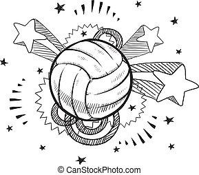 voleibol, bosquejo, taponazo