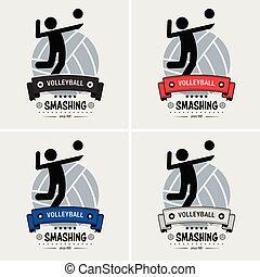 voleibol, clube, logotipo, design.
