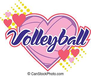 voleibol, con, corazones