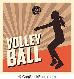 voleibol, desporto, e, passatempo, desenho