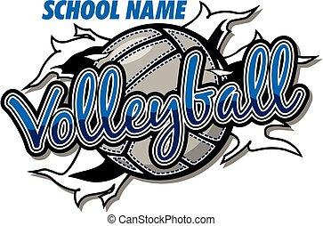voleibol, diseño, equipo