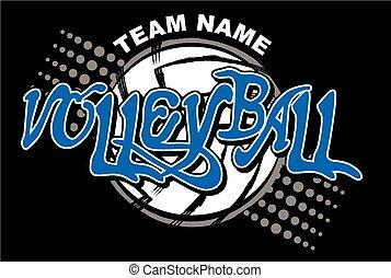 voleibol, equipe, desenho