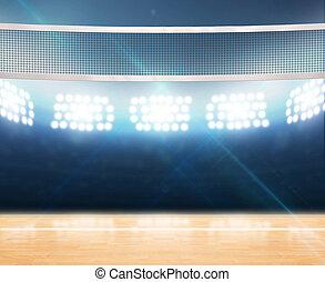 voleibol, floodlit, indoor, corte