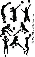 voleibol, hembra, siluetas, en, atlético, posturas