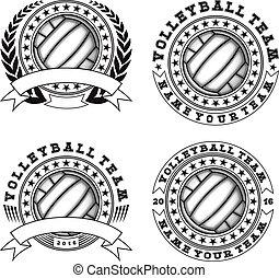 voleibol, logotipo, jogo