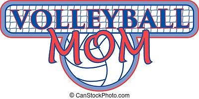voleibol, mãe, com, rede, desenho