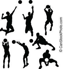 voleibol, macho, silhuetas, em, athl