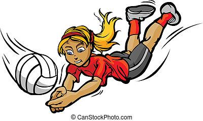 voleibol, menina, mergulhar, para, bola, caricatura, vetorial, ilustração
