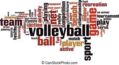 voleibol, palabra, nube