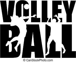 voleibol, palavra, com, cutout