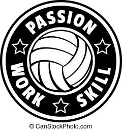 voleibol, pasión, trabajo, habilidad, insignia