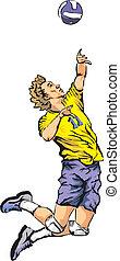 voleibol, -, sirva, el, pelota