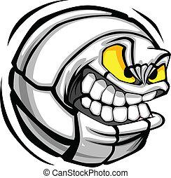 voleibol, vector, caricatura, pelota, cara