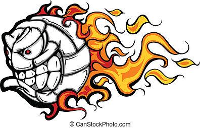 voleibol, vector, llameante, pelota, cara