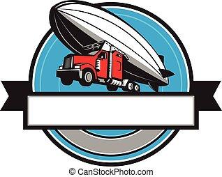 voler, éclaireur, aérien, zeppelin, moitié, semi-camion, retro