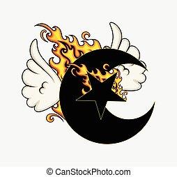 voler, étoile, brûlé, lune