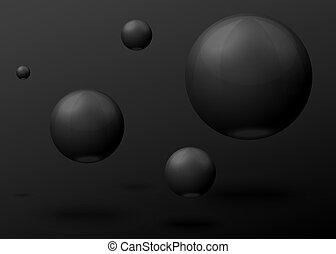 voler, air, vecteur, noir, balles, marbre