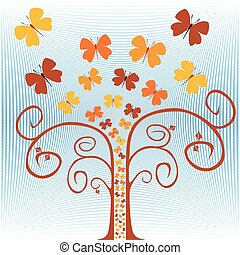 voler, arbre., papillons