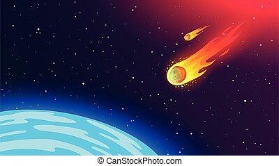voler, ardent, earth., phénomène, météorite, dangereux, humanity., cosmique