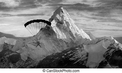 voler, au-dessus, montagnes, paraglider, vidéo